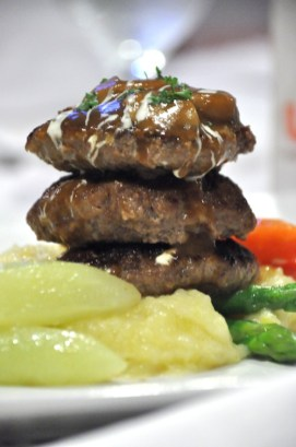 Mini Beef Burger Patty with mushroom cream