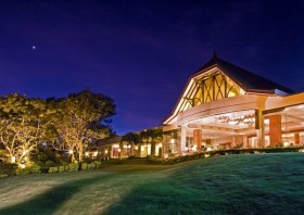 Tudor Facade at Night - Taal Vista Hotel