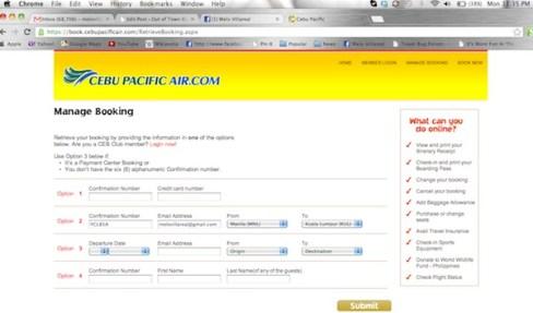 Cebu Pacific Web Check-in Service