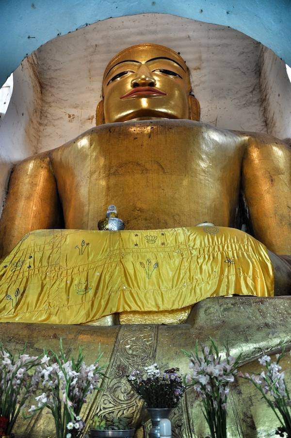 Golden Buddha inside Manuha Phaya Temple