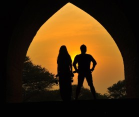 Ron and Monette of FlipTravels.com in Silhouette
