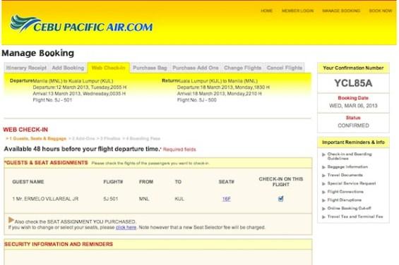 Web Check-in Process Cebu Pacific