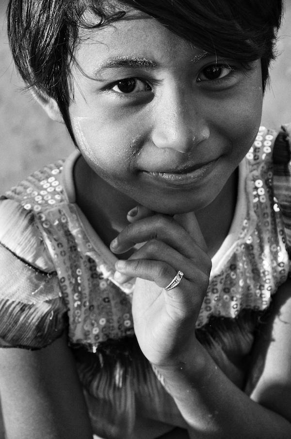Burmese Kid wearing Thanaka