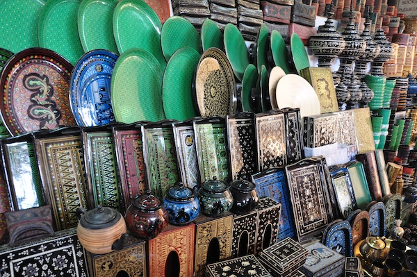 Laqcuerware Products being sold in Shwezigon Pagoda