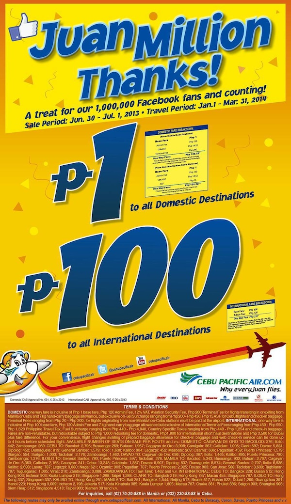 Cebu Pacific Piso Sale 2013