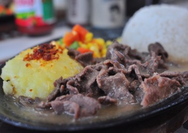 Tenderloin Tips with Baked Mashed Potato