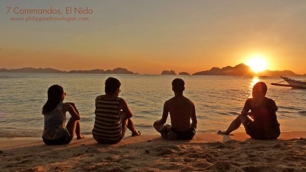 Sunset in Seven Commandos Beach in El Nido Palawan