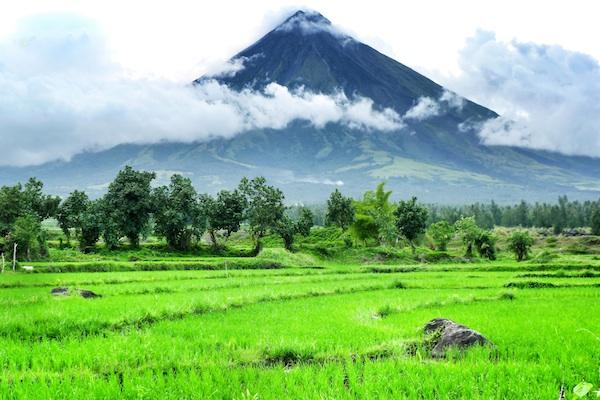 View of Mayon Volcano at Cagsawa Ruins
