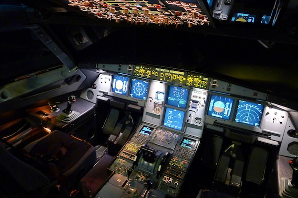 Airbus A320 flight deck at night