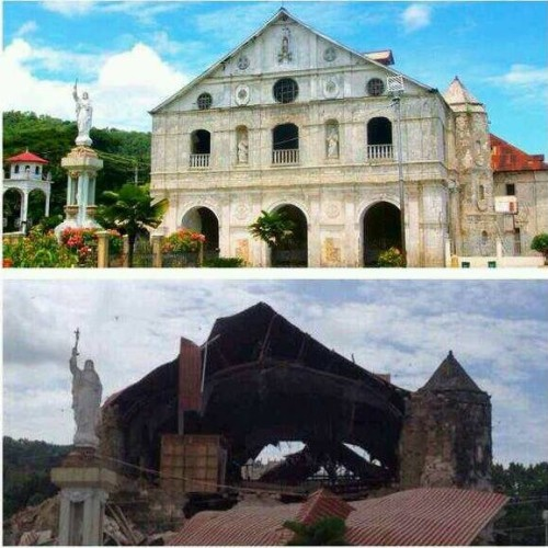 Loboc Church Before and After the Earthquake