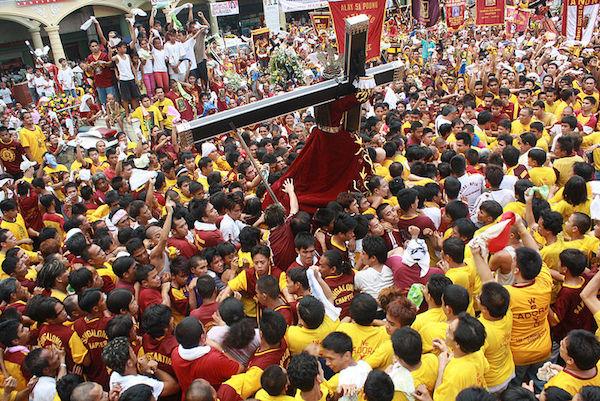 Religious Festival in Quiapo: The procession of Black Nazarene in Manila