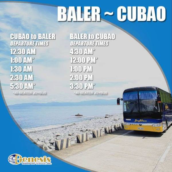 Cubao to Baler Bus Schedule
