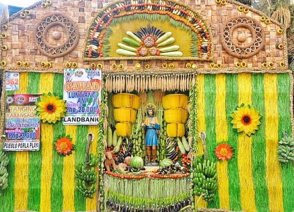 San Isidro Labrador at the center of Pahiyas Decorated House in Lucban
