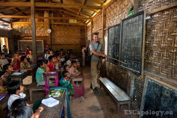 Teaching in small village school somewhere in Myanmar