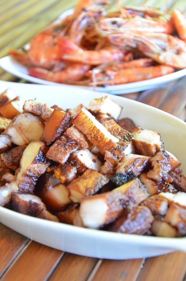 Grilled Pork and Steamed Prawns
