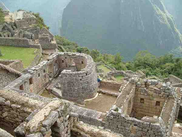Temple of the Sun or Torreon in Machu Picchu