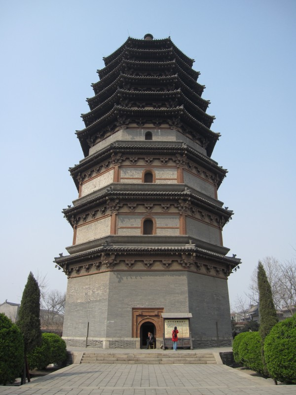 The Lingxiao Pagoda of Zhengding, Hebei Province, built in AD 1045 during the Song Dynasty