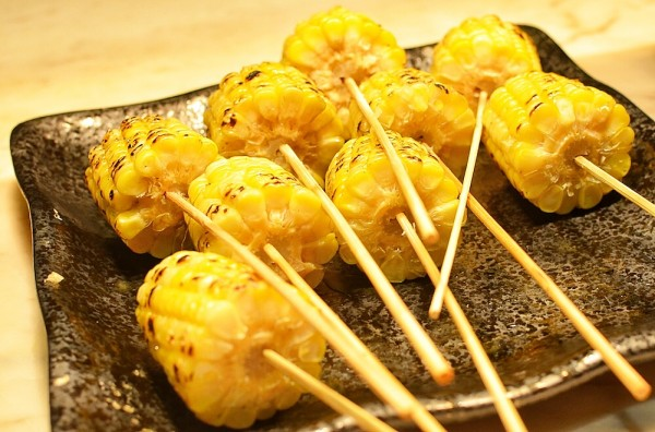 Grilled corn with miso, butter, and soy sauce