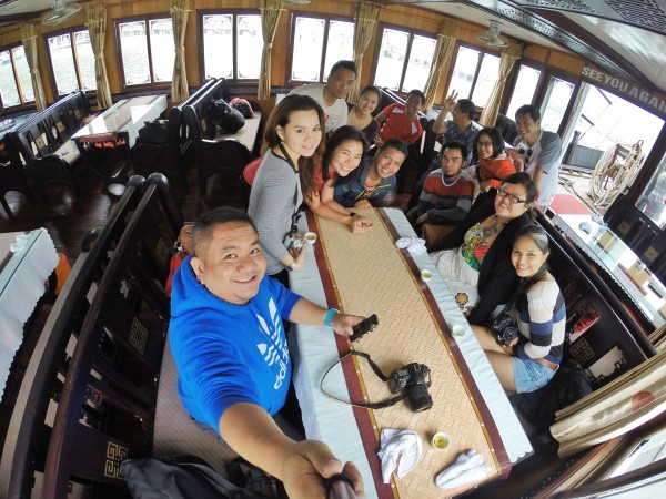 Filipino Travel Bloggers inside our Chartered Boat