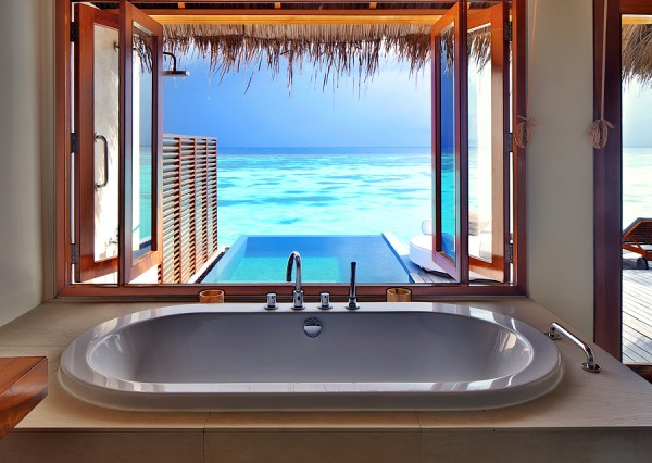 Luxury beautiful interior design on beach resort, window view fr