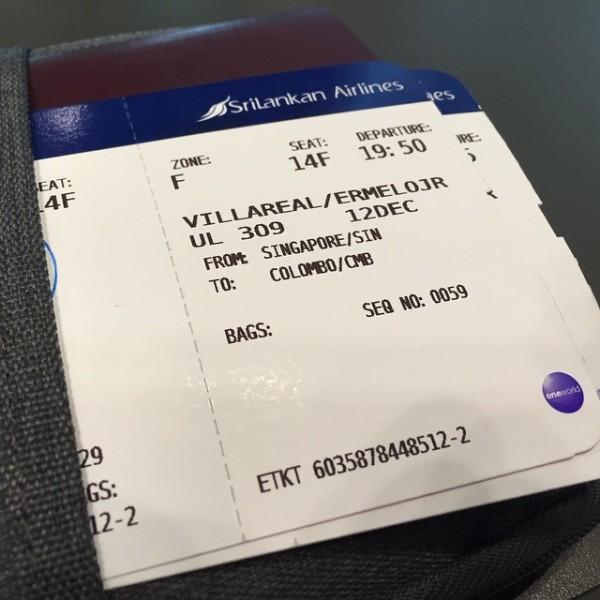 Finally got my Boarding Pass to Colombo Sri Lanka