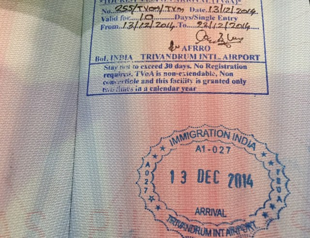 Visa on Arrival Immigration Stamp at Trivandrum International Airport