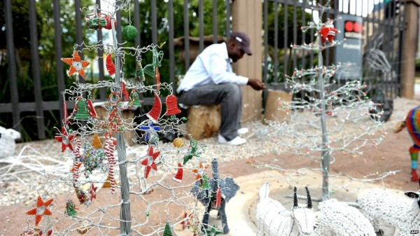 fake snow decorating store fronts in Nairobi
