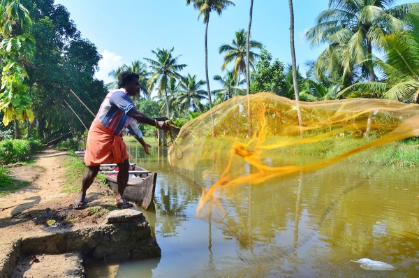 A local demonstrating local way of net fishing