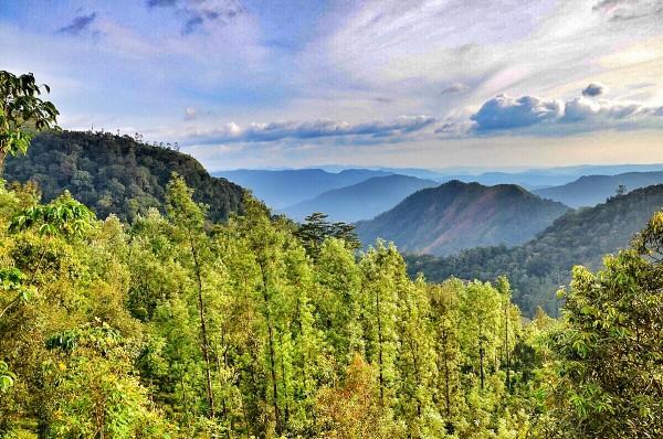 View of beautiful Mountain ranges in Thekkady