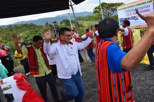 PHILTOA President Cesar Cruz dancing with the locals of Sta Fe Nueva Viscaya