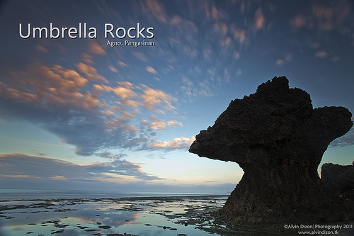 Umbrella rocks in Agno Pangasinan by Abranteslouie19 via Wikimedia Commons