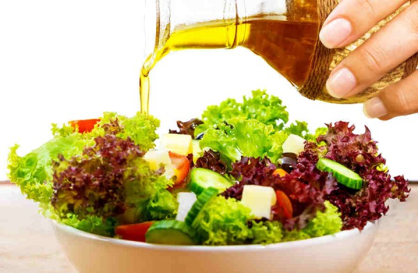 Fresh Greek Garden salad with olive oil