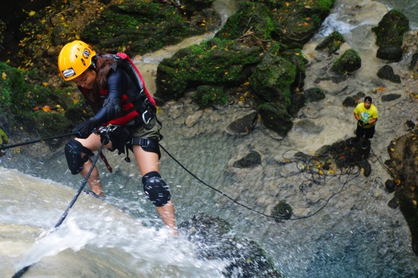 Kara Santos rappelling waterfalls in Camarines Sur