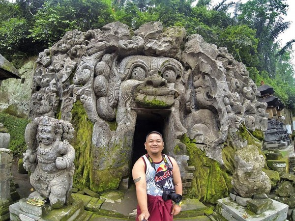 Melo at the entrance of Goa Gajah Cave
