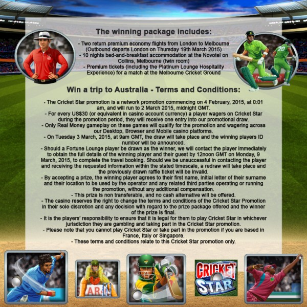 Terms for Cricket Star promotion as presented by Euro-Palace