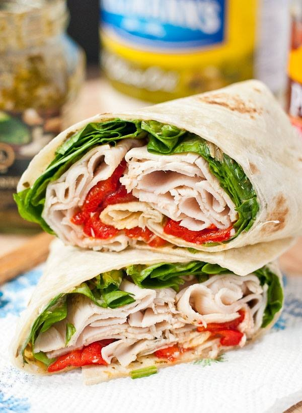 Turkey, red pepper cream cheese, Tomato and spinach in a wrap photo courtesy of Happy Tummy FB