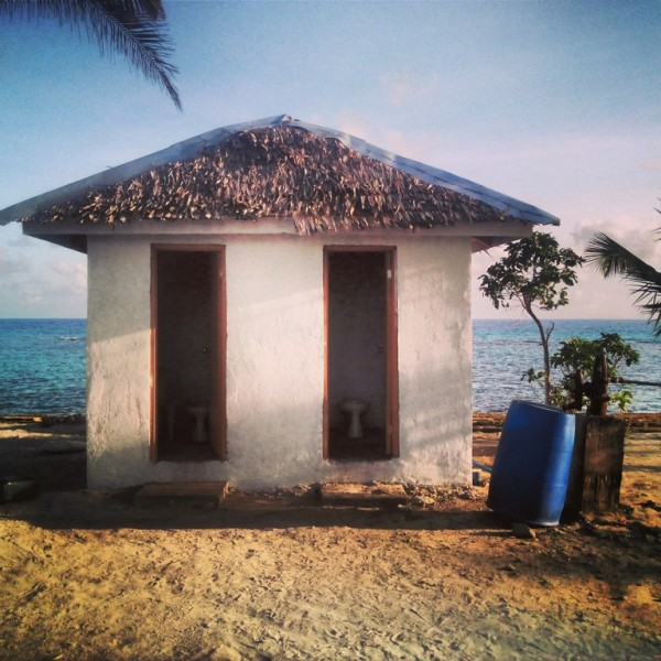 Three restrooms with traditional water pump (saltwater)