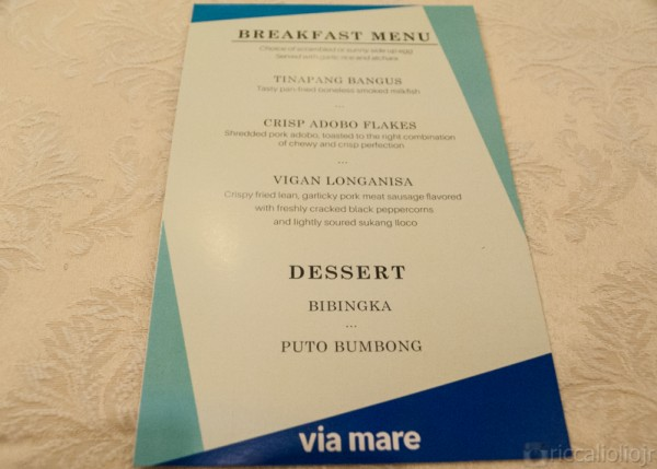 Menu for the morning