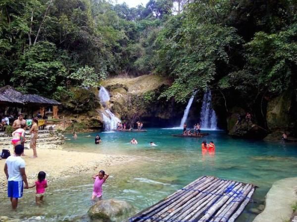 Bamboo rafts on Kawasan Falls Level 2