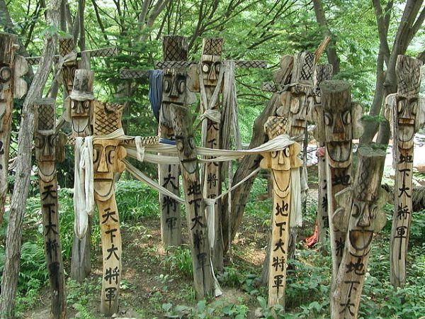 Korean totem poles at Korean Folk Village
