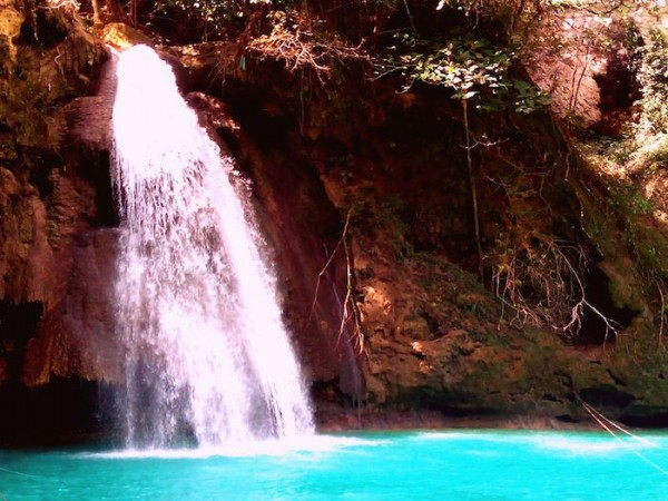 The iconic Kawasan Falls Level 3 zoomed in