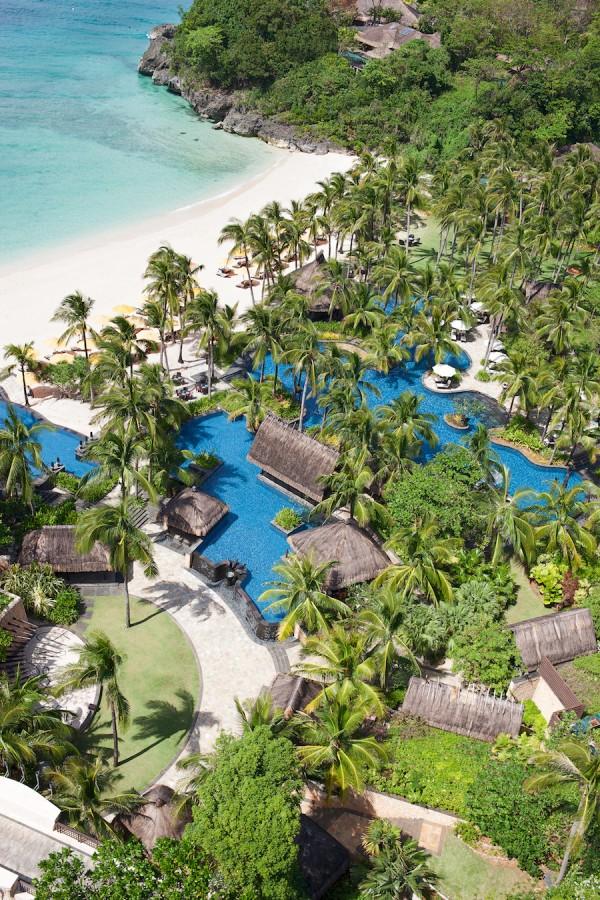 Aerial shot of Shangri-La Boracay Resort