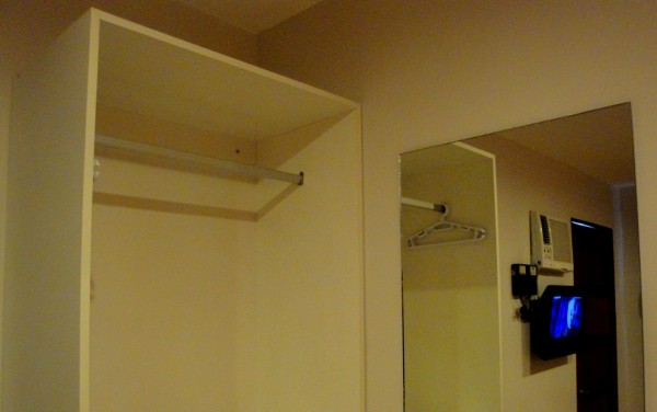Open cabinet and mirror
