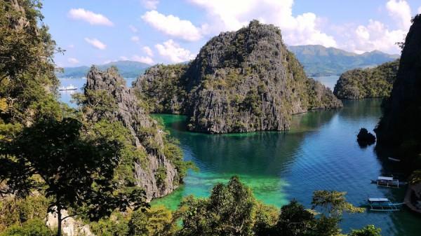 postcard view of Coron Bay