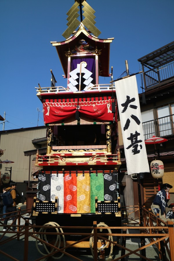 One of the 11 Yatai or Floats lined up near the temple
