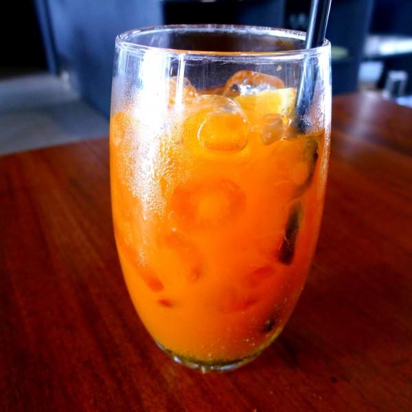 Brewed iced tea with orange juice