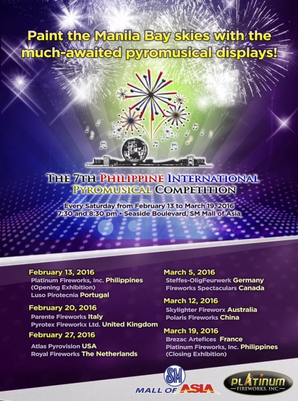 2016 Philippine International Pyromusical Competition Schedule