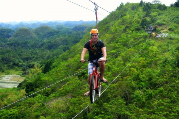 bike zipline at Chocolate Hills Adventure Park