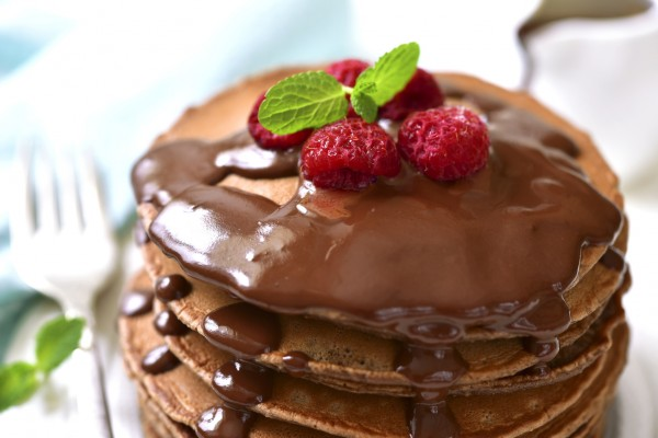 Layers of Pancake with chocolate syrup