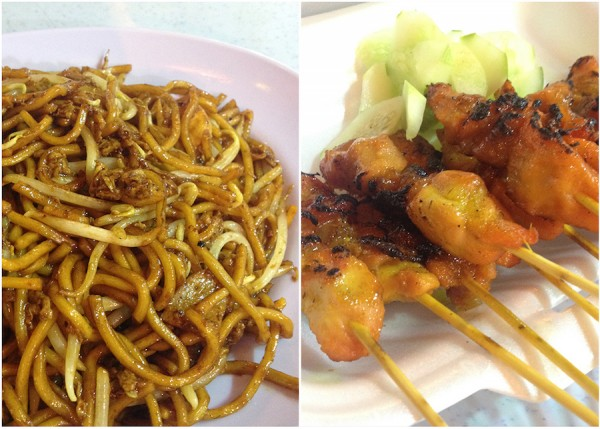 mee goreng and chicken satay